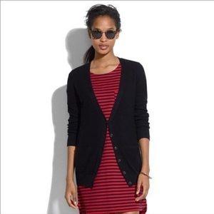 Madewell Black Textured V Neck Cardigan Size XS